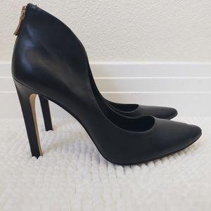 BCBGeneration Zipper Heels Leather Black Size 8 M